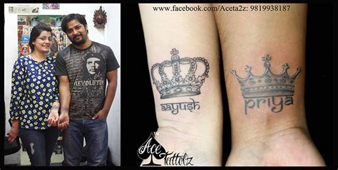 name tattoos for couples crown tattoos ace tattooz studio mumbai india