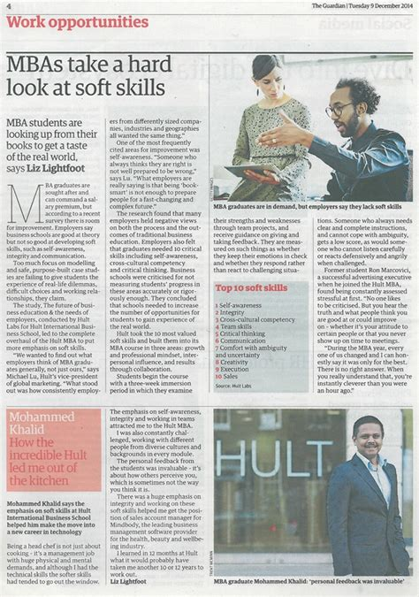 Hult Mba Curriculum by Mbas Need To Teach Soft Skills The Guardian Hult News