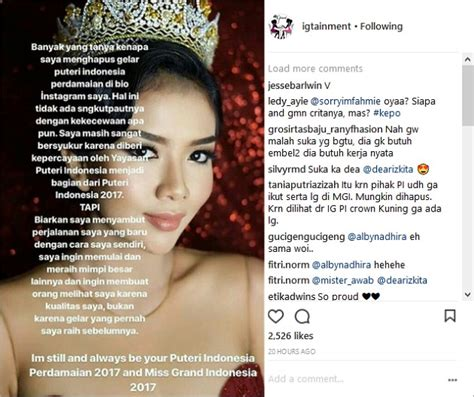Bio Di Indo dea rizkita hapus gelar puteri perdamaian di bio instagram
