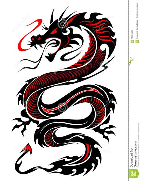 flaming dragon tattoo flaming tribal stock vector illustration