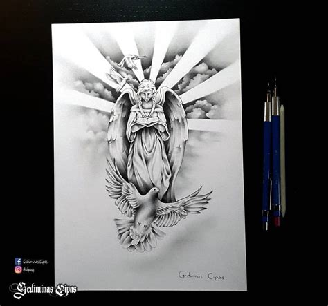 angel and cross tattoo sketch religious drawing god bird