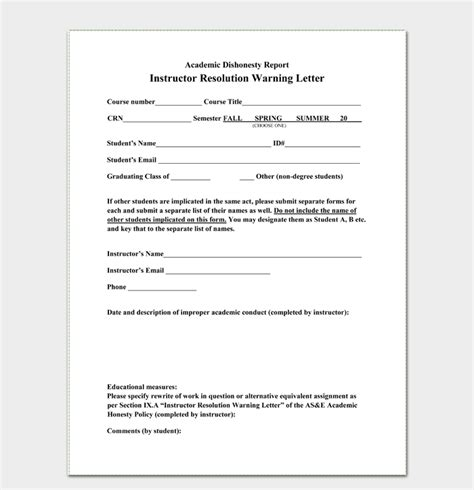 professional warning letters write templates