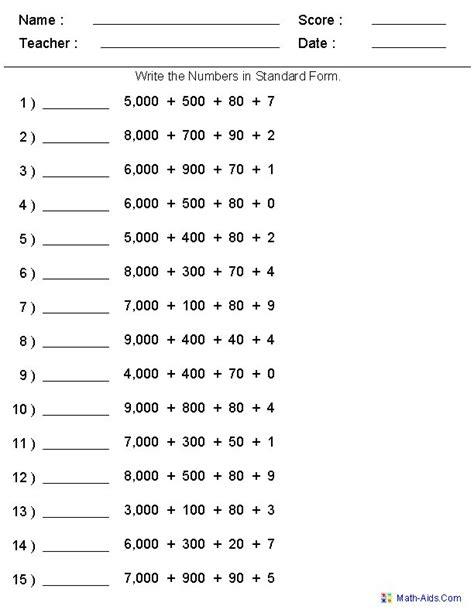 Place Value Worksheets Grade 4
