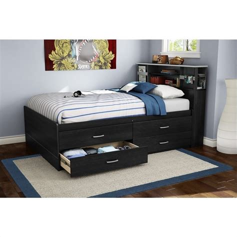 South Shore Cosmos Full Captain S Bed In Black Onyx Black Captains Bed