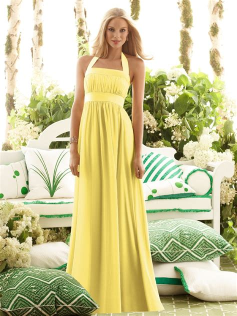 pictures of yellow wedding dresses halter a line yellow wedding guest dress with floor