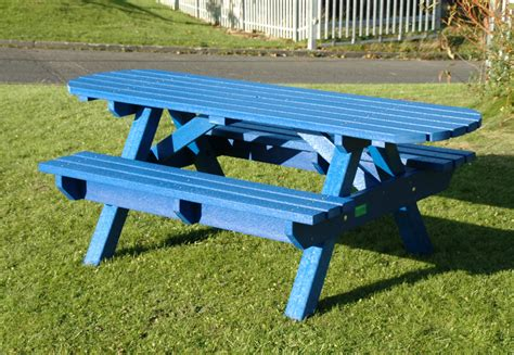 plastic benches uk wheelchair friendly extended top picnic table bench weatherproof recycled plastic blue