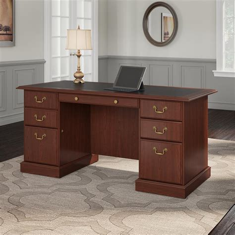 bush saratoga l desk bush furniture saratoga executive desk in harvest cherry