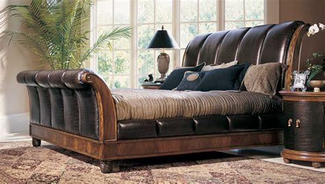 bob mackie bedroom furniture american drew bob mackie home classics sleigh bed with crocodile embossed leather 581 304r