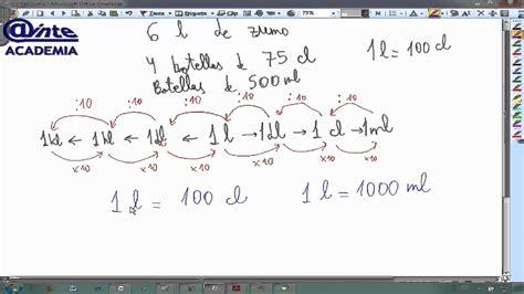 libro litros y litros de unidades de volumen litros decilitros centilitros matematicas 6 primaria ainte youtube