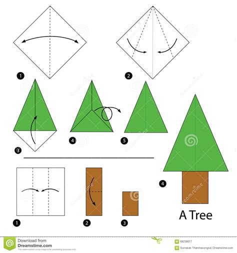 How To Make A Origami Tree - step by step how to make origami a tree