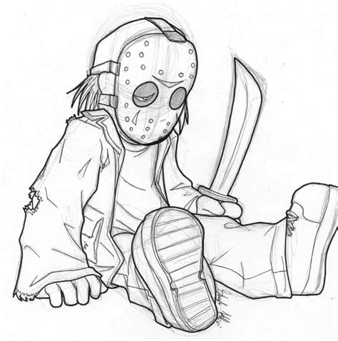 baby jason voorhees drawing sketch coloring page