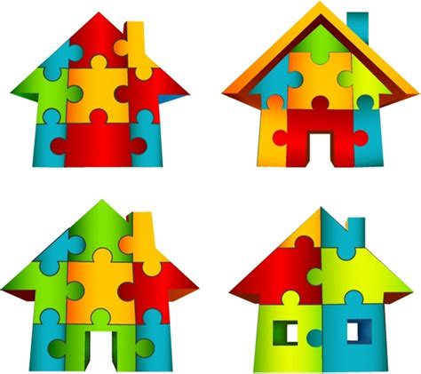Puzzle House 3d house puzzle free vector in adobe illustrator ai ai