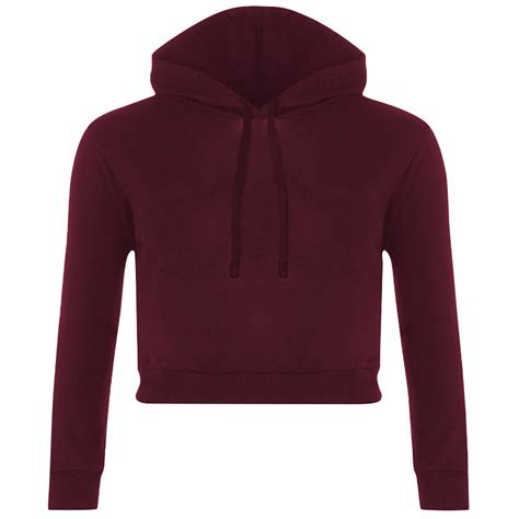 Sleeve Hooded Cropped Top new womens fleece sleeve crop top pullover hooded