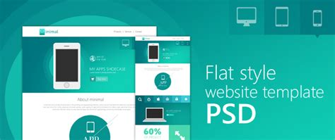 flat style website template psd for free download