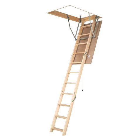 fakro 10 ft 1 in 54 in x 25 in wood attic ladder with