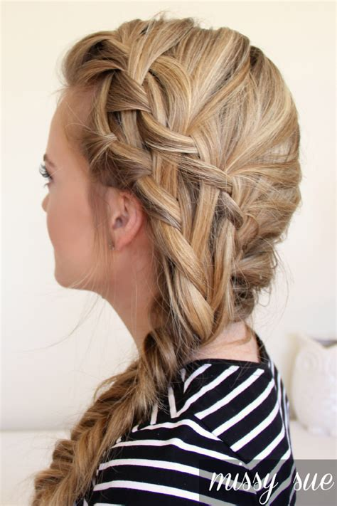 fishtail braid pictures double waterfall braid and fishtail side braid