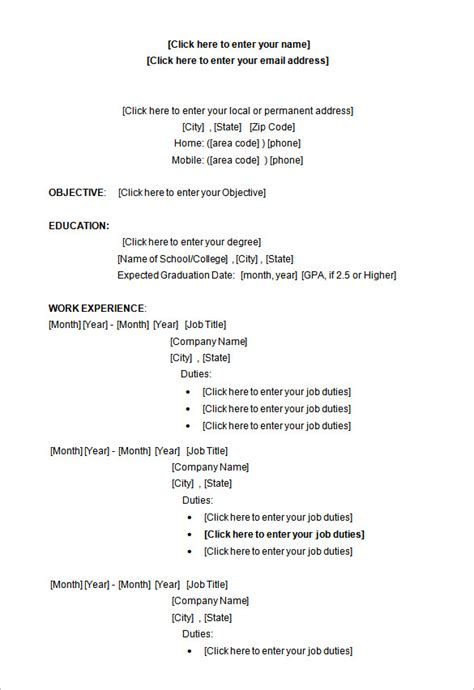 resume format for ms word a successful resume template open office for seeker