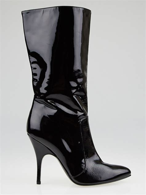patent high heel boots lanvin black patent leather high heel boots size 8 5 39