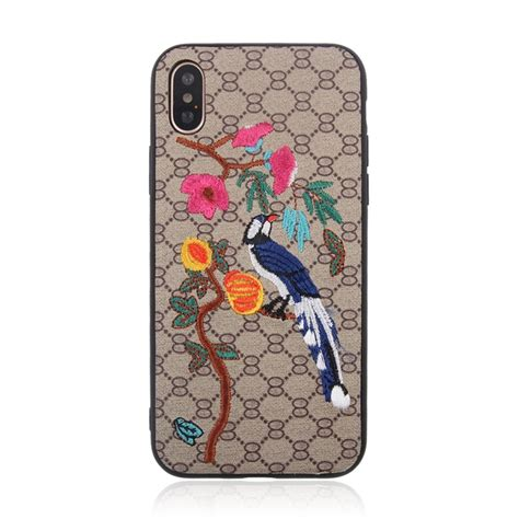 web pattern protective case for iphone x animal embroidery oriole pattern protective