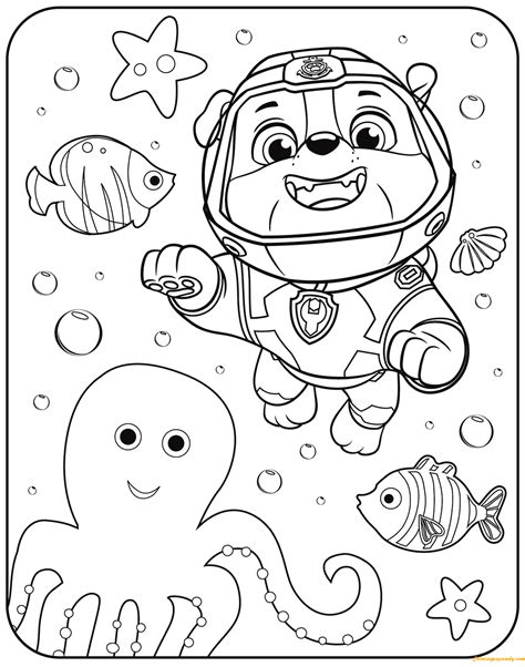 paw patrol spring coloring pages paw patrol rubble underwater coloring page free coloring