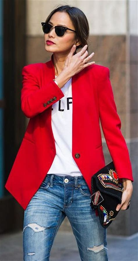 street style outfit ideas  red color glam radar