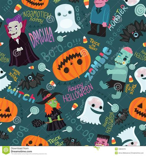 cute halloween pattern happy halloween seamless pattern stock vector image