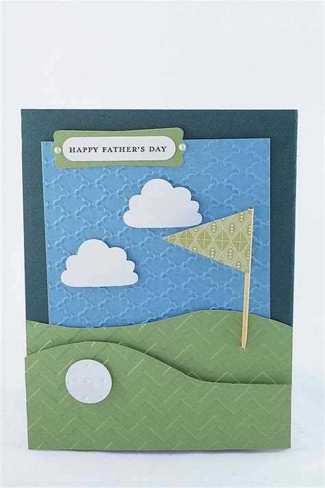 Handmade Fathers Day Card - handmade pull out s day golf course pocket card