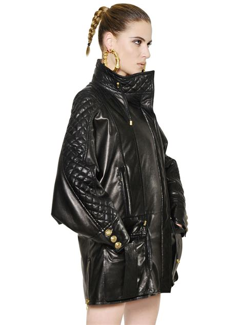 oversized black leather balmain oversized quilted nappa leather jacket in black lyst