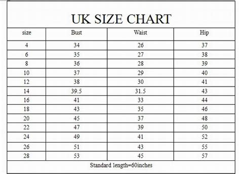 womens dress size chart dresses