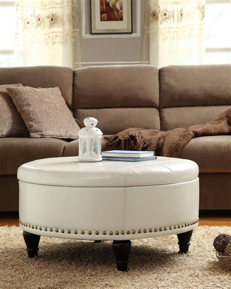 ottoman or coffee table white leather ottoman coffee table furniture roy home design