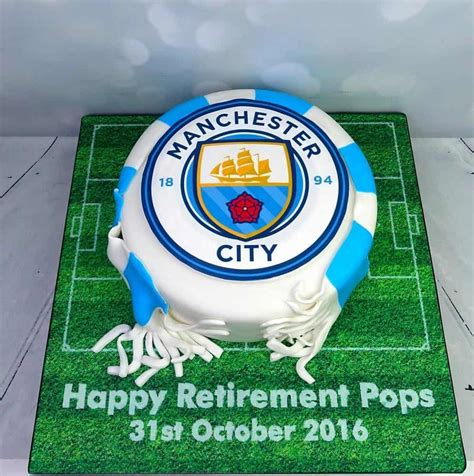 Design Custom Manchester City 001 manchester city logo retirement football cake with scarf