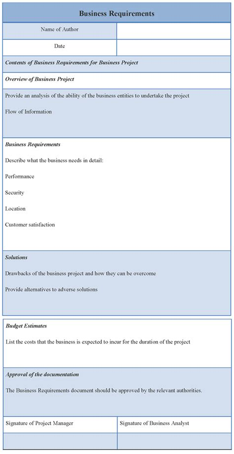 it business requirements template requirements template for business sle of business
