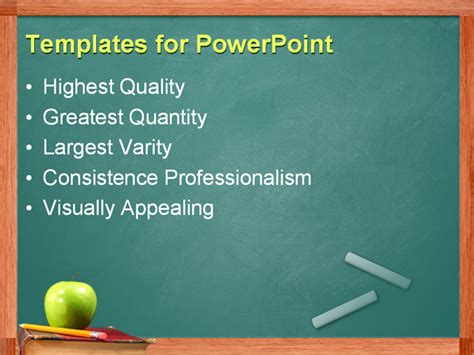 Education Powerpoint Templates powerpoint template apple and pencil on book in front of chalkboard 10781