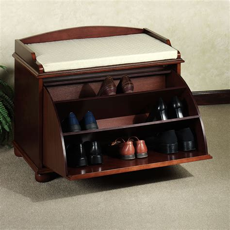 shoe seat storage small antique closed shoe rack bench with drawer storage