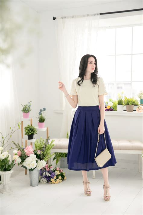 Jfashion Korean Style Midi Dress Motif Dotted yoco womens classic pleated midi skirt japanese korean fashion ebay