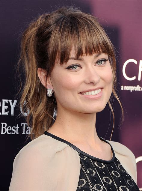 pony hairstyles for oval face it was a flirty textured ponytail with bangs for olivia