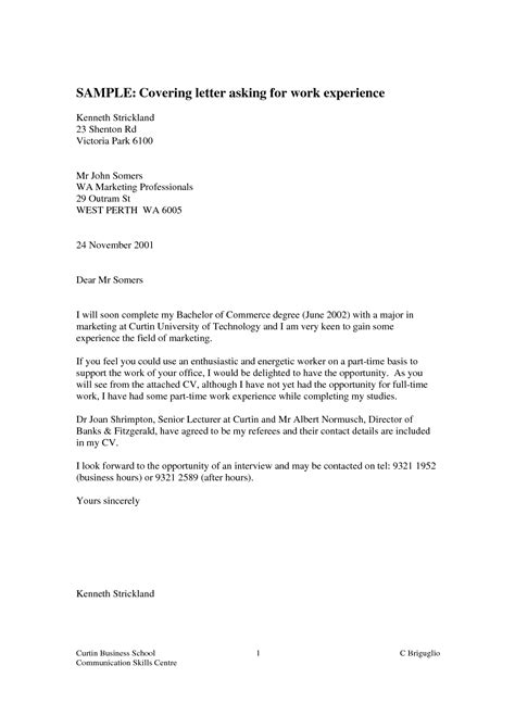 Work Experience Cover Letter by How To Write A Cover Letter For Work Experience Free Cover Letter