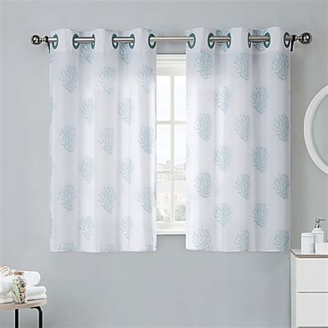 Curtains For Bathroom Windows Coral Reef 38 Inch Window Curtain Tier Pair In Grey Mist Bed Bath Beyond