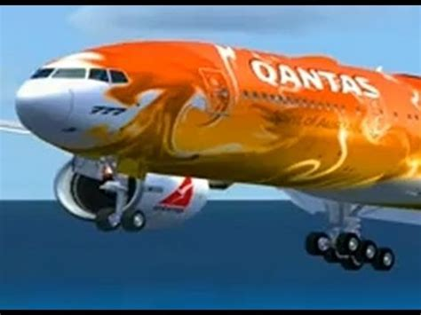 fsx hd posky 777 qantas special paint landing