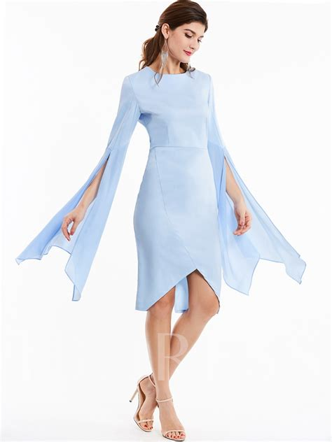 Plain Flare flare sleeve asymmetrical plain s bodycon dress