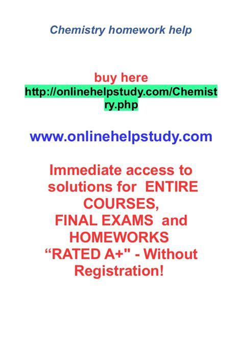 Homework Help In Chemistry by Chemistry Homework Help
