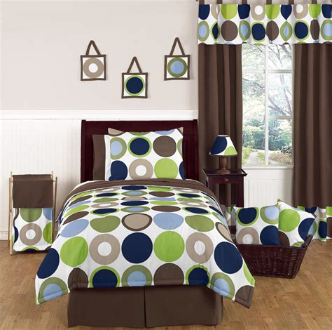 boys twin size bed blue brown dot teen kids twin size bed bedding comforter