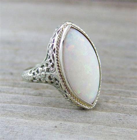 vintage 3 carat opal engagement anniversary filigree ring