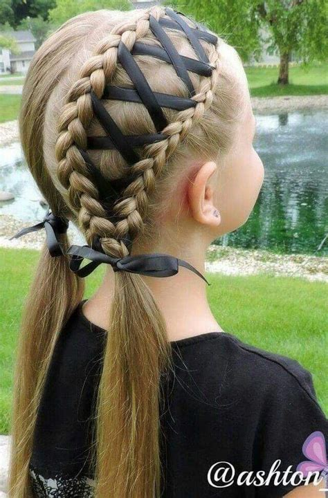 easy hairstyles ribbon no tutorial double ribbon laced piggie braids missy do