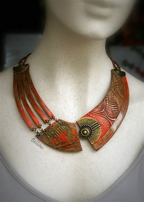 Asymmetrical Polymer Clay Necklaces by Bellou   The