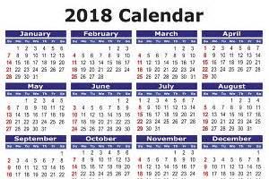 Cambodia Calendrier 2018 2018 Calendar In Illustrations Creative Market