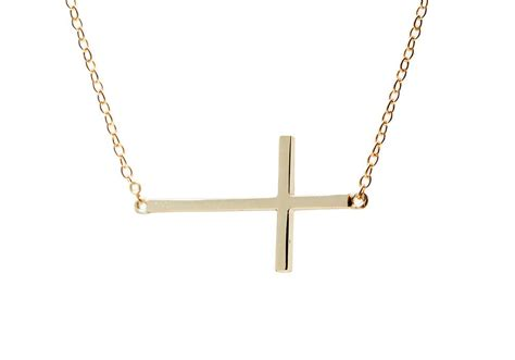 gold plated silver sideways cross pendant necklace 16 inch
