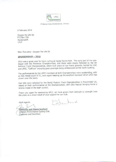 Sponsorship Letter Cycling Sponsorship Letter From The Lifestyle Performance Cycling Club
