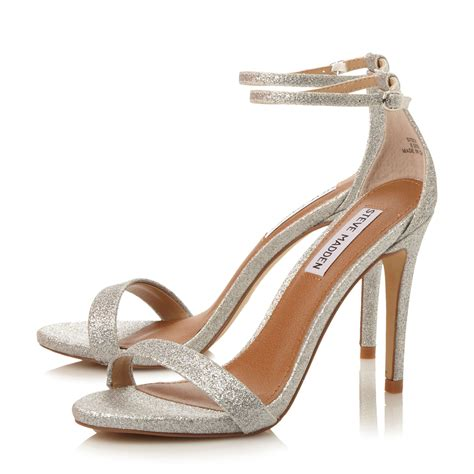 steve madden heeled sneakers steve madden stecy two part heeled sandals in metallic lyst