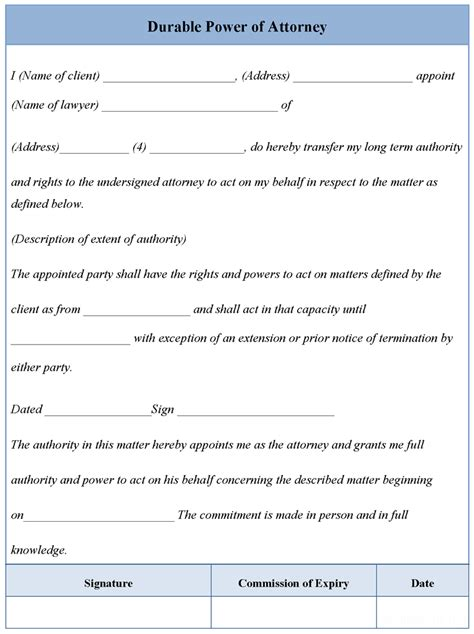 blank power of attorney forms to print for free calendar